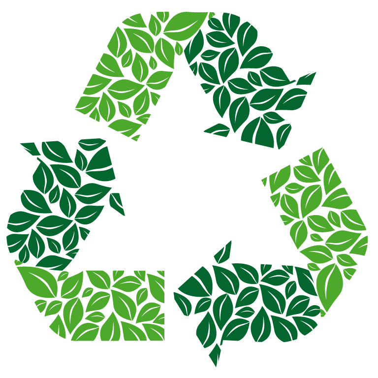 three arrows, formed from leaves, creating a recycle loop